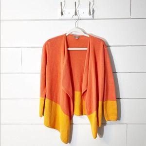 J. Jill Orange Colorblocked Open Knit Cardigan